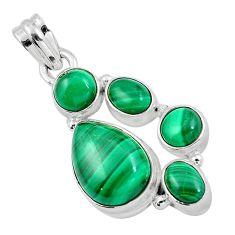 Natural green malachite (pilot's stone) 925 silver pendant m77212