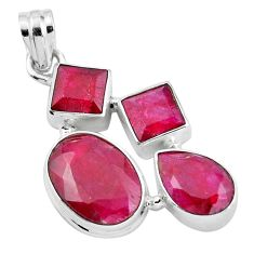 Natural red ruby oval 925 sterling silver pendant jewelry m77261