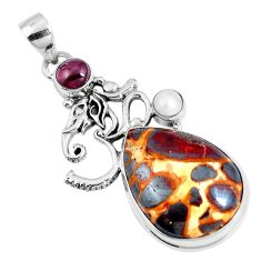 Natural brown bauxite garnet 925 silver lord ganesha pendant jewelry m78361