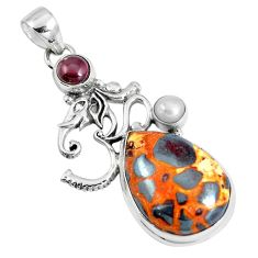 Natural brown bauxite garnet 925 sterling silver lord ganesha pendant m78367