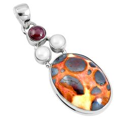 Natural brown bauxite garnet 925 sterling silver pendant jewelry m78377
