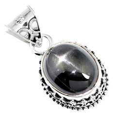 22.17cts natural black star 925 sterling silver pendant jewelry m78419