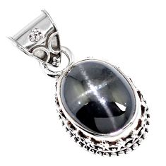 11.45cts natural black star 925 sterling silver pendant jewelry m78420