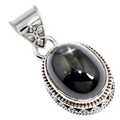 925 sterling silver natural black obsidian eye oval pendant jewelry m78464