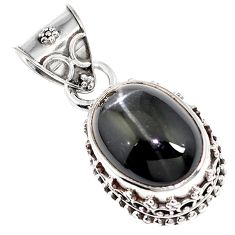 Natural black obsidian eye 925 sterling silver pendant jewelry m78465