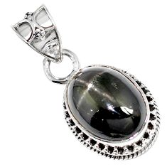 Natural black obsidian eye 925 sterling silver pendant jewelry m78466