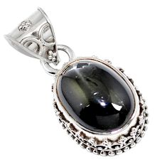 Natural black obsidian eye 925 sterling silver pendant jewelry m78467