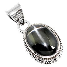 Natural black obsidian eye 925 sterling silver pendant jewelry m78468