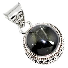 Natural black obsidian eye 925 sterling silver pendant jewelry m78469