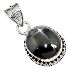 925 sterling silver natural black obsidian eye oval pendant jewelry m78470