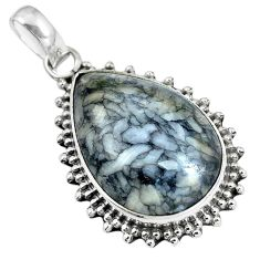 Natural white pinolith 925 sterling silver pendant jewelry m78504