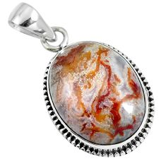 Natural white agua nueva agate 925 sterling silver pendant jewelry m78529