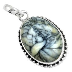 Natural white pinolith 925 sterling silver pendant jewelry m78530