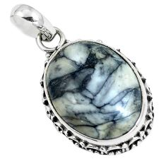 Natural white pinolith 925 sterling silver pendant jewelry m78531