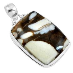 Natural brown peanut petrified wood fossil 925 silver pendant m78734