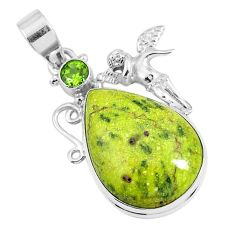 Natural atlantisite (tasmanite) stichtite-serpentine 925 silver pendant m78763