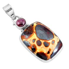 Natural brown bauxite garnet 925 sterling silver pendant jewelry m78785