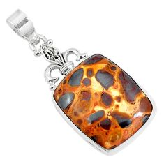 925 sterling silver natural brown bauxite octagan pendant jewelry m78788