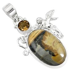 Natural brown cotham landscape marble 925 silver angel pendant m78803