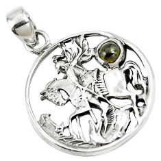 925 sterling silver natural green tourmaline horse pendant jewelry m79330