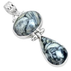 Natural white pinolith 925 sterling silver pendant jewelry m79482