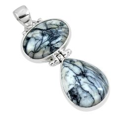 Natural white pinolith 925 sterling silver pendant jewelry m79483