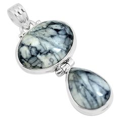Natural white pinolith 925 sterling silver pendant jewelry m79485