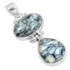 Natural white pinolith 925 sterling silver pendant jewelry m79486