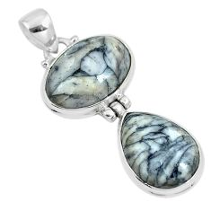 Natural white pinolith 925 sterling silver pendant jewelry m79487