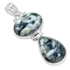 Natural white pinolith 925 sterling silver pendant jewelry m79491