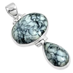Natural white pinolith 925 sterling silver pendant jewelry m79493