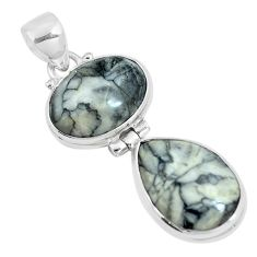 Natural white pinolith 925 sterling silver pendant jewelry m79496