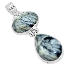 Natural white pinolith 925 sterling silver pendant jewelry m79497