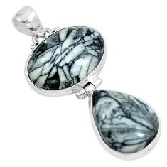 Natural white pinolith 925 sterling silver pendant jewelry m79500
