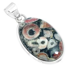 Natural black colus fossil 925 sterling silver pendant jewelry m79521