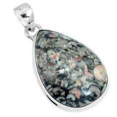 Natural black colus fossil 925 sterling silver pendant jewelry m79522