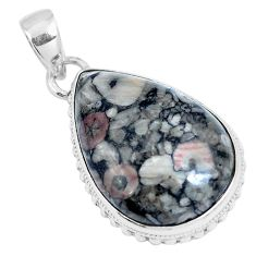 Natural black colus fossil 925 sterling silver pendant jewelry m79523