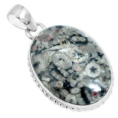 Natural black colus fossil 925 sterling silver pendant jewelry m79525