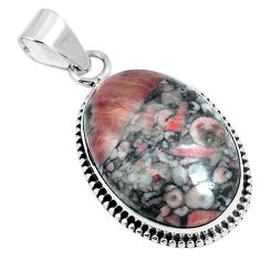 Natural black colus fossil 925 sterling silver pendant jewelry m79531