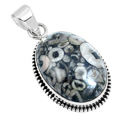 Natural black colus fossil 925 sterling silver pendant jewelry m79537