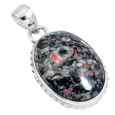 Natural black colus fossil 925 sterling silver pendant jewelry m79540