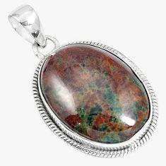 Natural green grass garnet 925 sterling silver pendant jewelry m79591