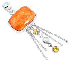 Natural orange calcite citrine 925 sterling silver pendant jewelry m79669
