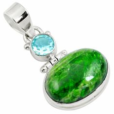 14.42cts natural green chrome diopside topaz 925 sterling silver pendant m79717