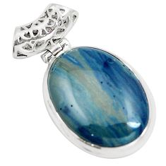 Natural blue swedish slag 925 sterling silver pendant jewelry m79923