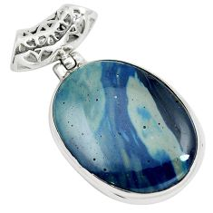 925 sterling silver natural blue swedish slag oval pendant jewelry m79924
