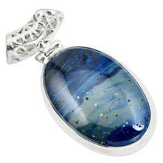 Natural blue swedish slag 925 sterling silver pendant jewelry m79925