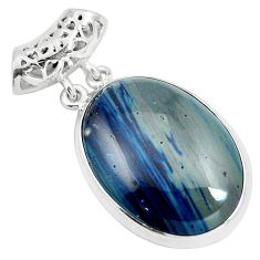 Natural blue swedish slag 925 sterling silver pendant jewelry m79926