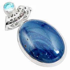 Natural blue swedish slag topaz 925 sterling silver pendant m79927