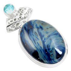 925 sterling silver natural blue swedish slag topaz pendant jewelry m79929